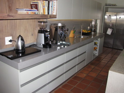 modern kitchen with terracotta tiles