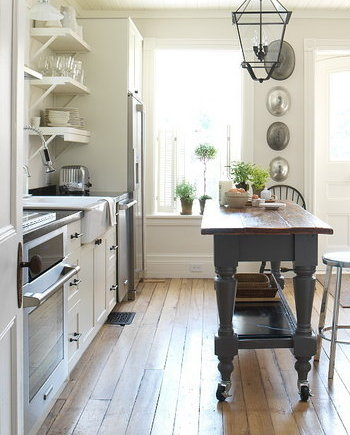 narrow kitchen island