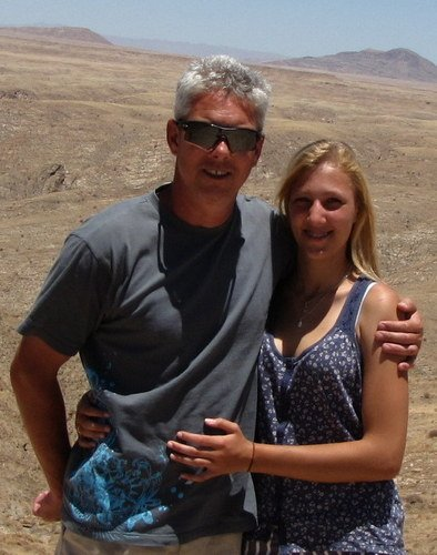 With Danee, my oldest daughter during a trip to Namibia